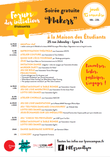Le Forum des initiatives étudiantes 2018 ! Du 12 au 18 Novembre